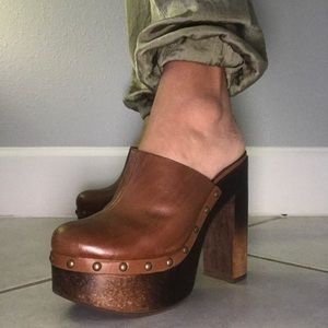 Steve Madden Mules/Clogs Heels Brown Tan Leather